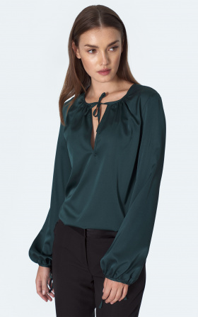 Satin blouse in bottle green colour