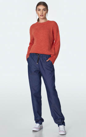 Denim trousers with ribbing