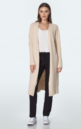 Long cardigan in ecru