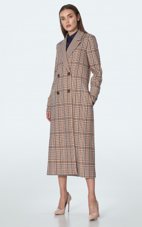 Double breasted coat in beige checkered