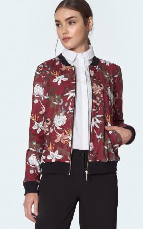 Claret bomber jacket in flowers
