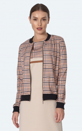 Bomber jacket in beige checkered