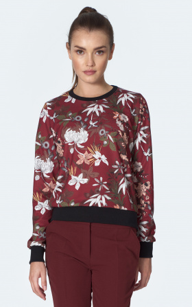 Burgundy sweatshirt with ribbing in flowers