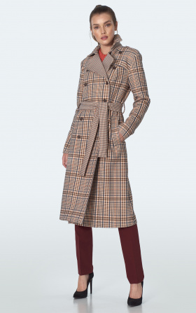 Double breasted chequered beige coat with strap