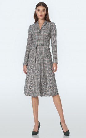 Midi dress in green chequered
