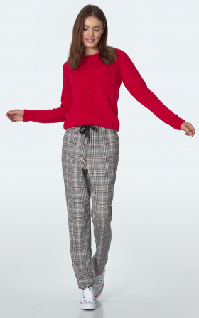 Green chequered trousers
