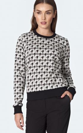 Bluza ze ściągaczem we wzór pepitko