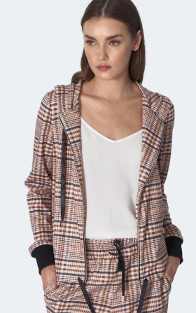 Tied hoodie with chequered beige