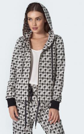 Tied hoodie in pepito pattern