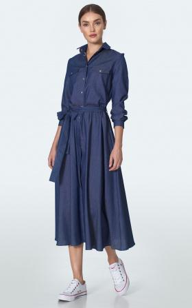Jeansowa sukienka midi