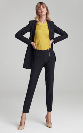Classic black trousers with gold zipper
