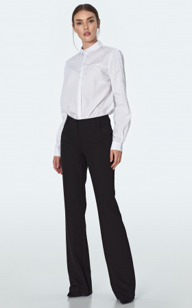 Black trousers with slightly flared legs