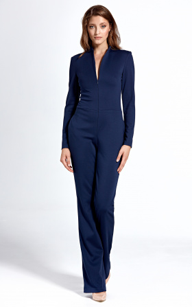 Navy jumpsuit with zip at neckline