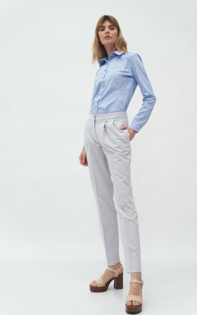 Szare spodnie z zakładką
