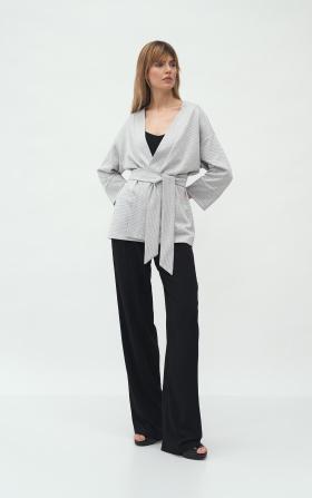 Grey kimono jacket with pattern