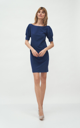 Cobalt dress with puffy sleeves