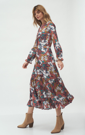 Long dress in flowers pattern