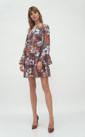 Dress with frill in flowers pattern