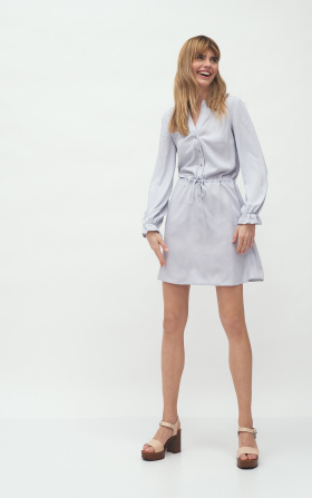 Grey viscose dress tied at waist