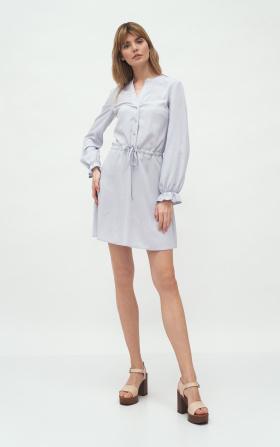 Szara wiskozowa sukienka wiązana w talii