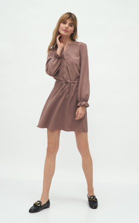 Dress tied at waist in mocca colour