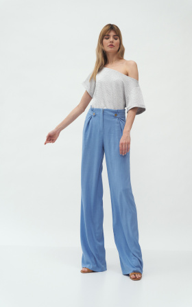 Blue womens trousers in palazzo style