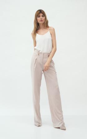 Beżowe spodnie z zakładkami typu palazzo