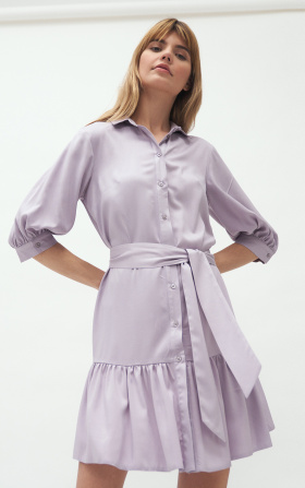 Viscose dress with a frill in lilac colour