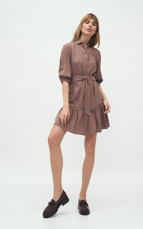Viscose dress with a frill in mocca colour