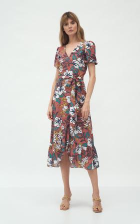 Kopertowa sukienka w stylu boho w kwiaty