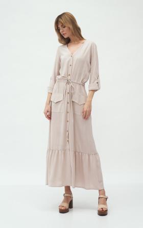Długa beżowa sukienka z kieszeniami