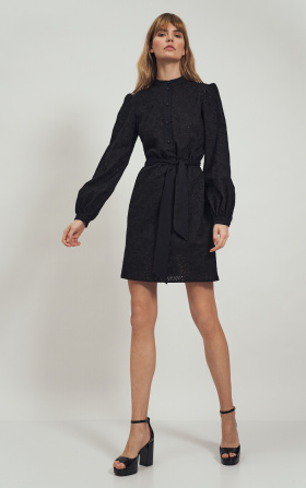 Black lacy dress with stand-up collar