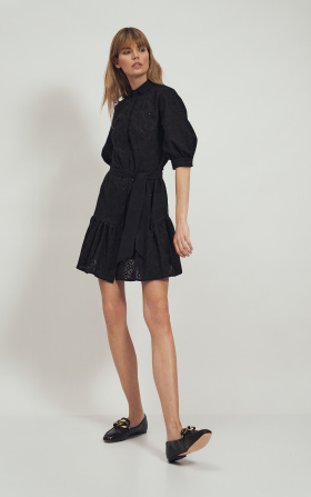 Cotton black dress with a frill