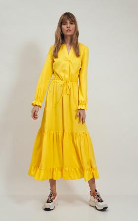 Długa żółta sukienka z falbanką