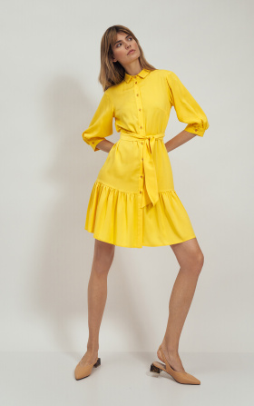 Wiskozowa sukienka z falbaną w kolorze żółtym