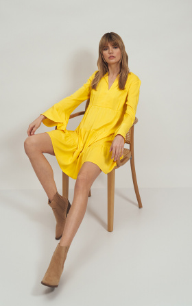 Yellow viscose dress with a frill
