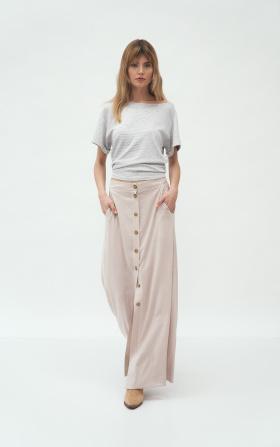 Beżowa długa spódnica z wiskozy