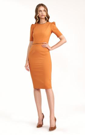 Klasyczna sukienka w kolorze pomarańczowym