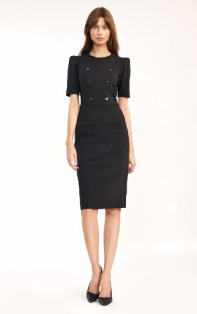 Klasyczna sukienka z guzikami w kolorze czarnym