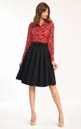 Spódnica midi z paskiem w kolorze czarnym