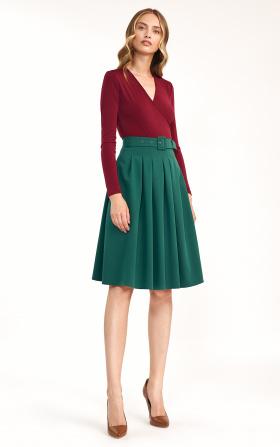 Spódnica midi z paskiem w kolorze zielonym