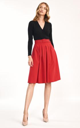 Spódnica midi z paskiem w kolorze czerwonym