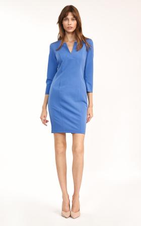 Dopasowana niebieska sukienka mini
