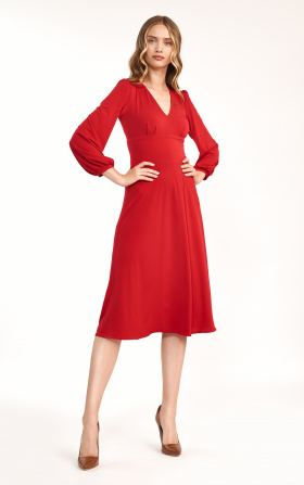 Classic red midi dress