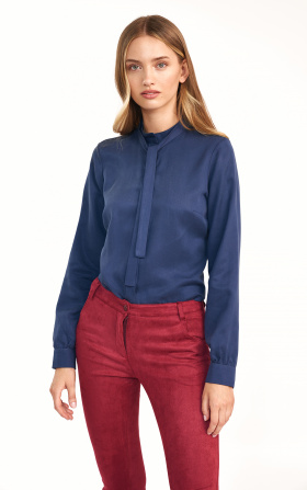 Navy blue blouse with tie