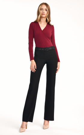 Black pants with flared legs