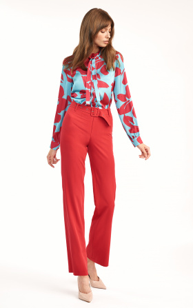 Red pants with flared legs