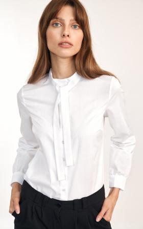 White femine shirt with tie