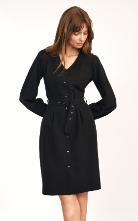 Black dress with a belt at the waist