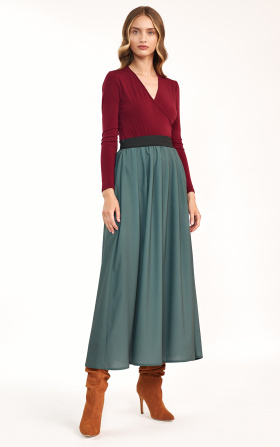 Ruffled maxi skirt - green